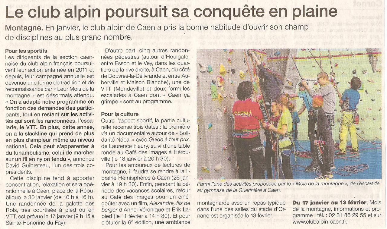 Ouest France 15 janvier 2016