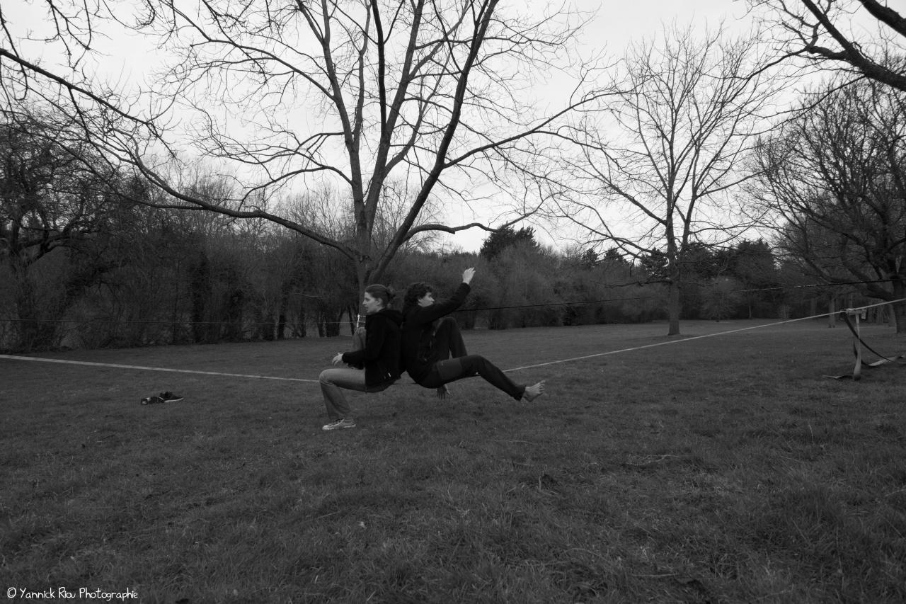 Slack à La Vallée des Jardins 05 (NB)